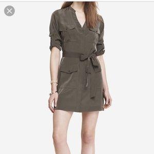 EXPRESS Olive Military Shirt Dress